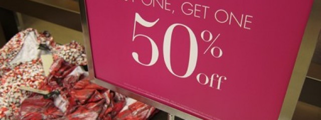Sale sign, 50 percent off