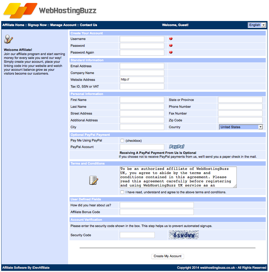 WebHostingBuzz UK Affiliate sign up form