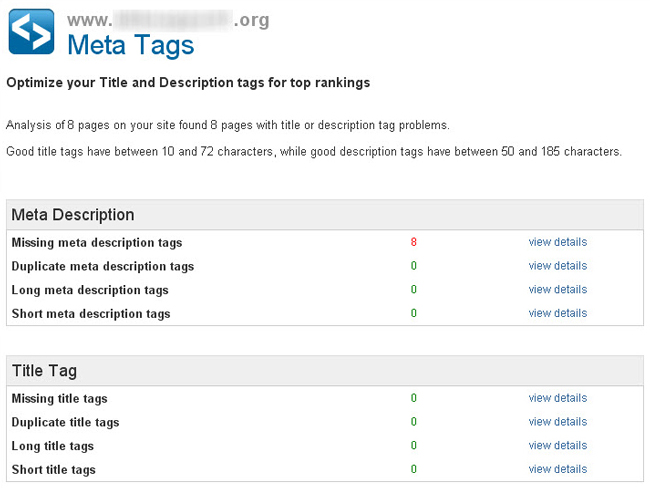 Attracta SEO Tool - META tags