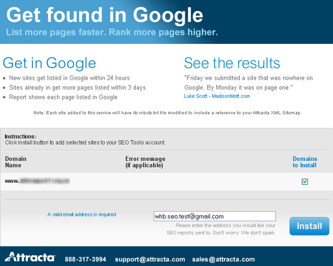 Attracta SEO Tool - new account