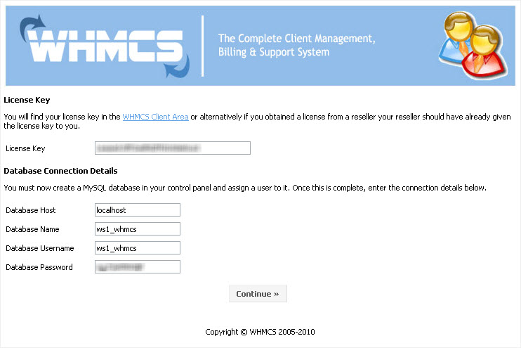 WHMCS installation - step 2, license and database