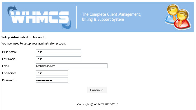 WHMCS installation - step 3, administrator account