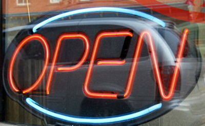 Open sign in window