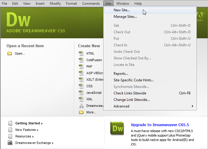 DreamWeaver - add site