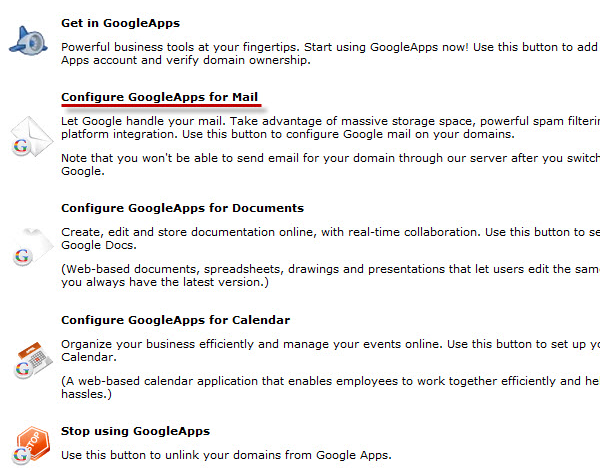 Google Apps - configure email