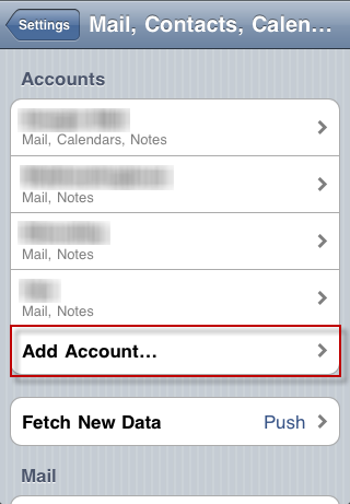 iPhone - add email account, step 2