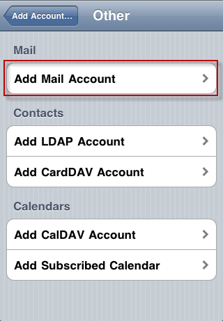 iPhone - add email account, step 4