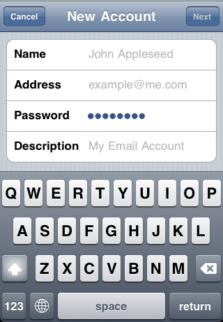 iPhone - account settings