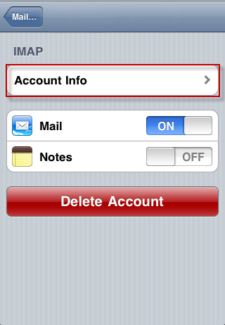 iPhone - advanced email account settings