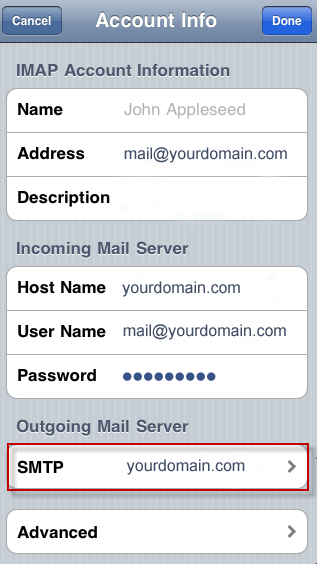iPhone - SMTP settings, step 1