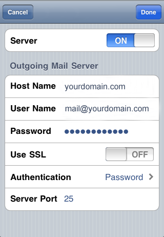 iPhone - SMTP settings, step 4