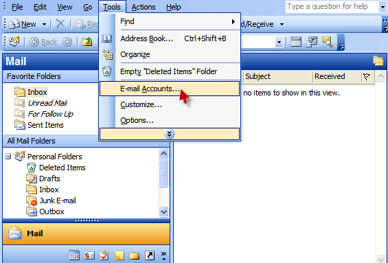 Outlook 2003 - add account, step 1