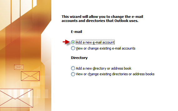 Outlook 2003 - add account, step 2