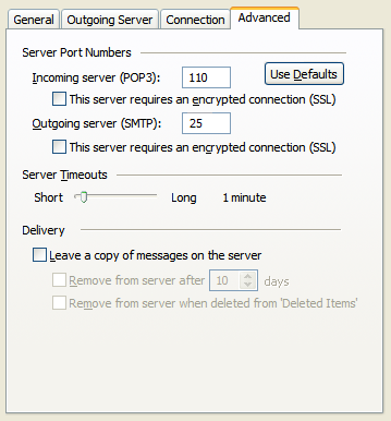 Outlook 2003 - outgoing mail settings