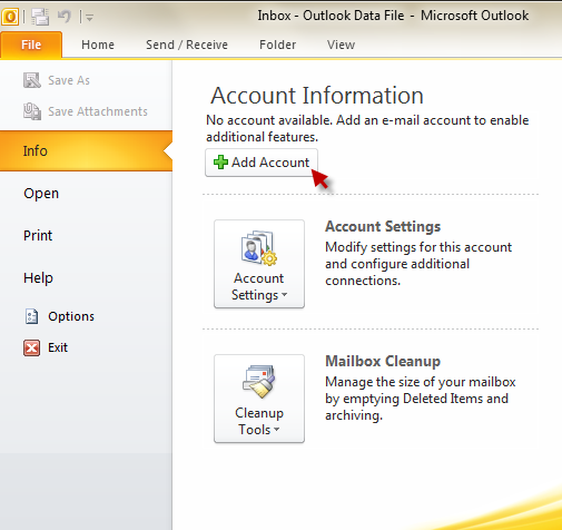 Outlook 2010 - add account, step 1