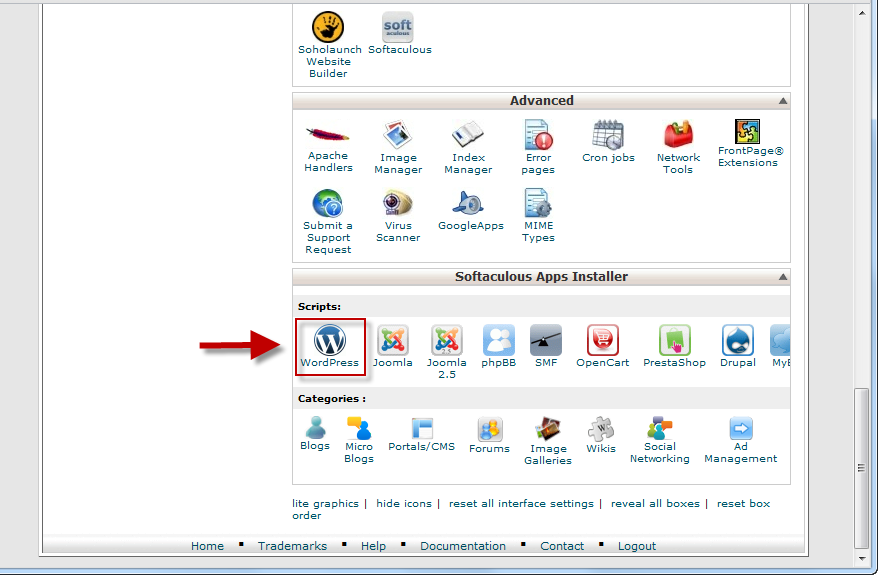 cPanel - one-click WordPress installer