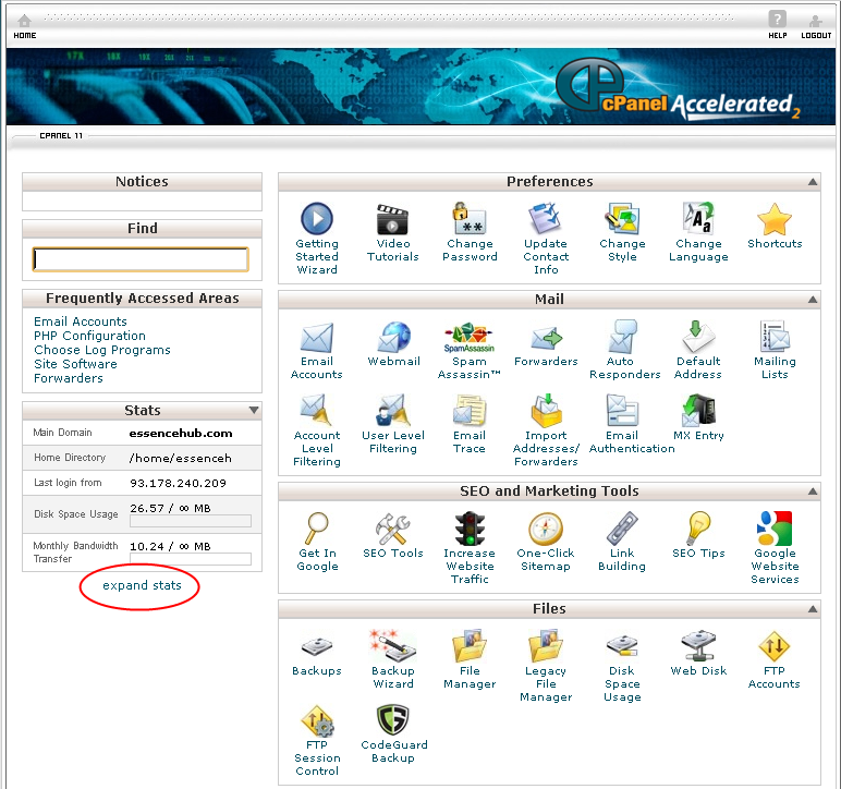 cPanel expand stats