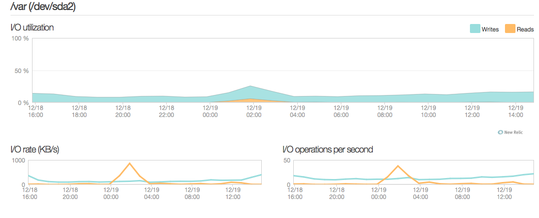 NewRelic server monitoring disk io utilization